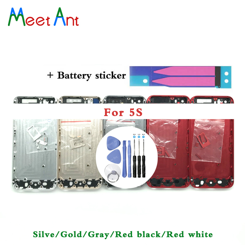 High Quality Back Cover For Iphone 5 5G Or 5S SE Housing Battery Cover Rear Door Chassis Frame + Battery Sticker And Tool