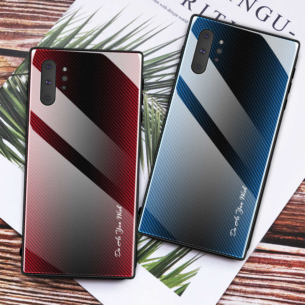 Caixa Do Telefone de Vidro temperado Para Samsung Nota Caso 10 Plus 9 8 Gradiente de Vidro Borda TPU Capa Para Samsung Galaxy s9 S10 S8 Plus S10E