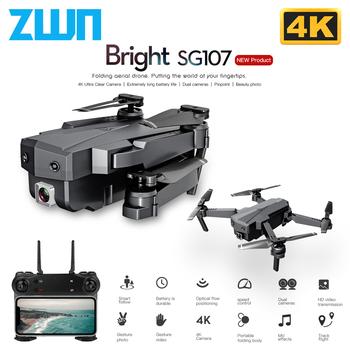 ZWN-SG107 mini dron z podwójną kamerą HD podwójny aparat 4K WIFI FPV quadcopter przepływ optyczny Rc sterowanie gestami zabawka dla dzieci VS E58 E68 SG106 składany tanie i dobre opinie CN (pochodzenie) Metal Z tworzywa sztucznego 150M 28*22*5 5 cm Read Manual Carefully Mode2 A month Silnik szczotki 3 7V 200mAh lipo battery (built-in)