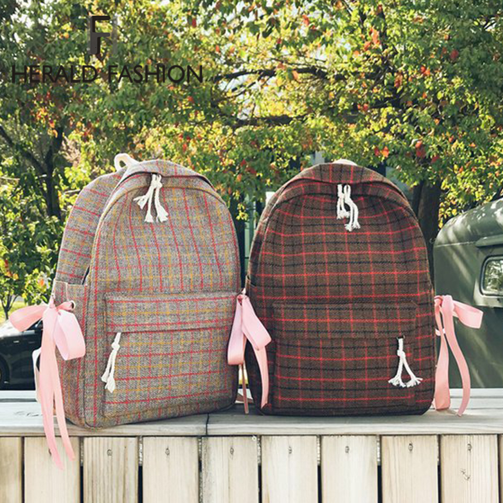 Herald Fashion Women Plaid Backpack Student Girl School Bag Travel Bag Classic Shoulder Bag For Teenage GIrls  Bagpack Rucksack
