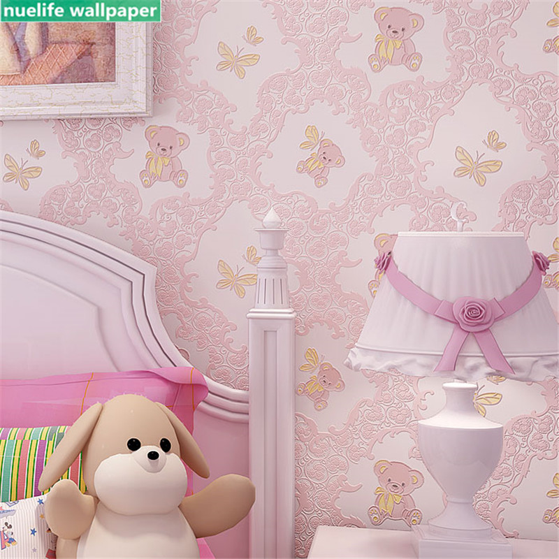 Children's room  pink cute cartoon bear butterfly non-woven wallpaper living room bedroom wedding room kindergarten  wall paper