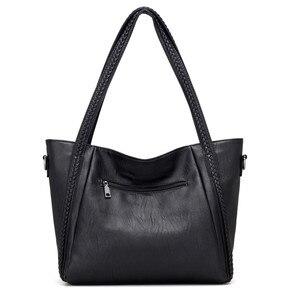 Image 4 - Sacs à main en cuir souple de luxe pour femmes sacs à bandoulière tissés de grande capacité de marque de concepteur dames fourre tout décontractés sacs de voyage noirs