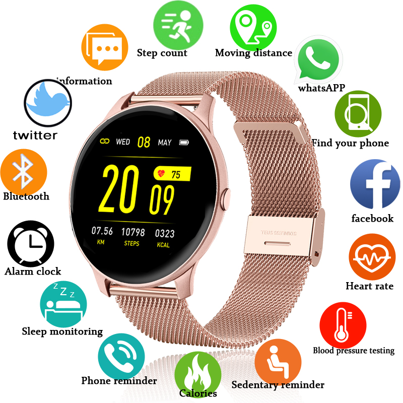 LIGE 2020 fashion Womens Smart Watches Waterproof Sports Fitness Watch Luxury Heart Rate Smart Watch for women For Android IOS