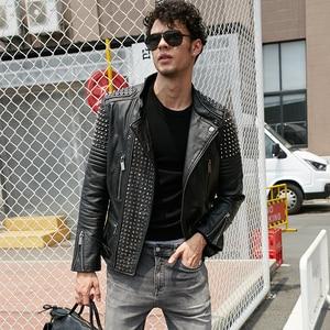 Image 1 - Мужская кожаная куртка с заклепками MAPLESTEED, черная Толстая байкерская куртка из воловьей кожи в стиле панк, мотоциклетная одежда для зимы, м139, 2019