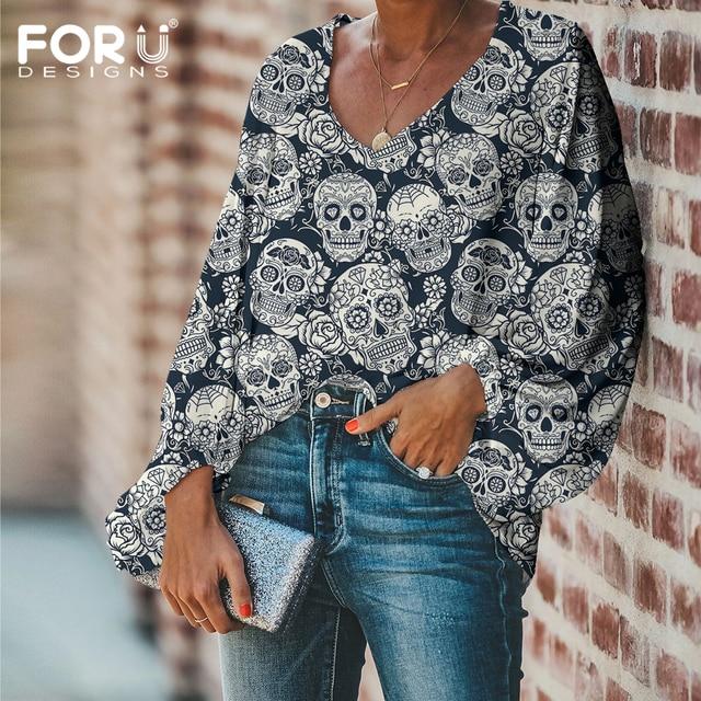 FORUDESIGNS Fashion Vintage Sugar Skull Pattern Large Size Women Blouse 2020 Casual Loose Long Sleeve Tops V-neck Shirts 2