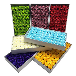 50Pcs/Set Bath Body Flower Floral Soap Rose Flower Head Cheap Artificial Flower For Wedding Decoratio Valentine'S Day Gift(China)
