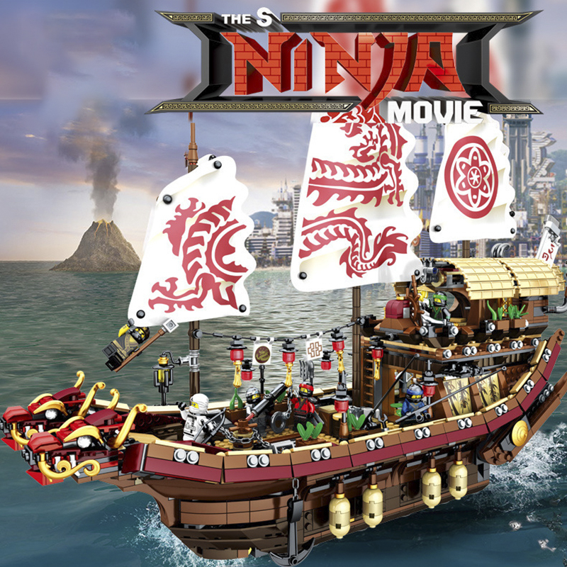 Mobile Base New  Fate Reward Boat Set Destiny's Bounty Building Blocks Bricks Compatible Lepinglys 70618 Toys For Birthday Gift