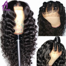 13*4 Deep Part Glueless Lace Front Human Hair Wigs Loose Wav