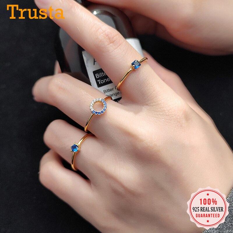 Trustdavis Minimalist 925 Sterling Silver Geometry Round Square Dazzling Blue CZ Ring For Women S925 Ring Jewelry Gift DA966