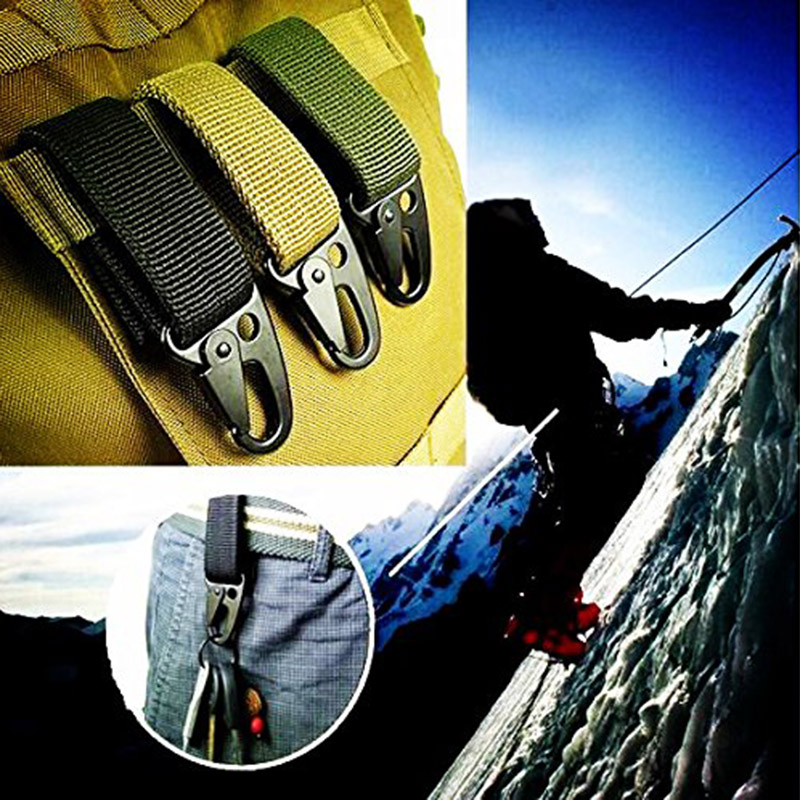 Outdoor Military Molle Strap Belt Buckle Hook Keychain Hanging Belt Portable For Vest Pouch Bag Outdoor Camping Hunting