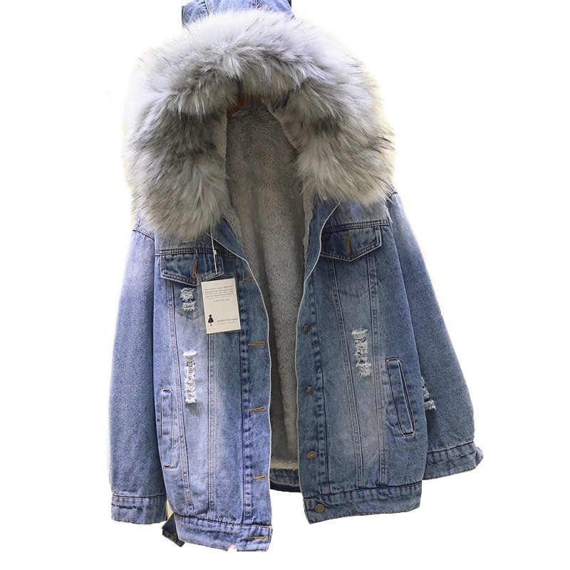 2019 Musim Dingin Longgar Berkerudung Besar Bulu Wanita Jaket Tebal Hangat Domba Bulu Panjang Denim Jaket Musim Dingin Jaket Wanita Mantel dengan bulu Jaket Jeans