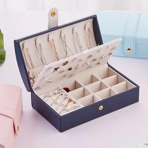 Image 5 - Nouvelle boîte à bijoux fraîche et Simple en polyuréthane Portable arqué 2 couches petite boucle doreille anneau multifonctionnel en cuir boîte demballage de bijoux