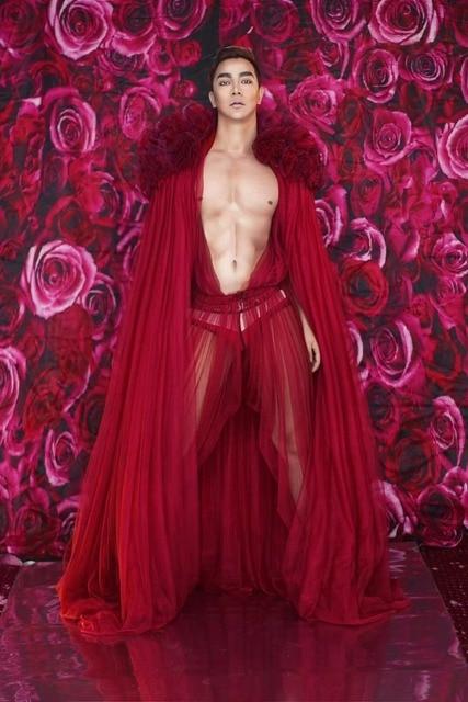 Czerwone kwiaty przepuszczalność DS DJ sukienka urodziny świętować sukienka kobiety mężczyźni Bar Evening piosenkarka pokaż etap strój taniec długa sukienka