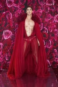 Red Flowers See Through DS DJ Dress Birthday Celebrate Dress Women Men Evening Bar Singer Show Stage Outfit Dance Long Dress