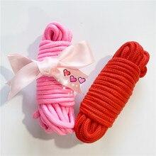 Cuerdas trenzadas suaves rosadas y rojas con lazo mechones eróticos Bondage de algodón Long10M BDSM Roleplay Kit de juguetes sexuales, productos de juegos sexuales para adultos