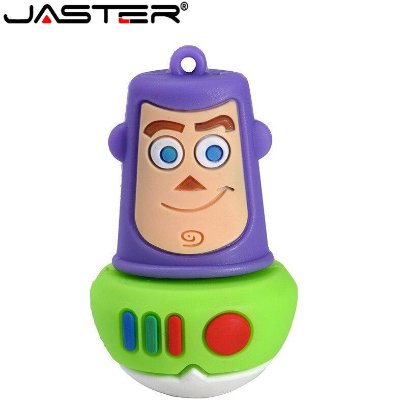 JASTER USB Flash Drive Cartoon Toy Story Buzz Lightyear Pendrive 64GB 32GB 16GB 8GB 4GB Memory Stick Pen Drive Mini Gifts
