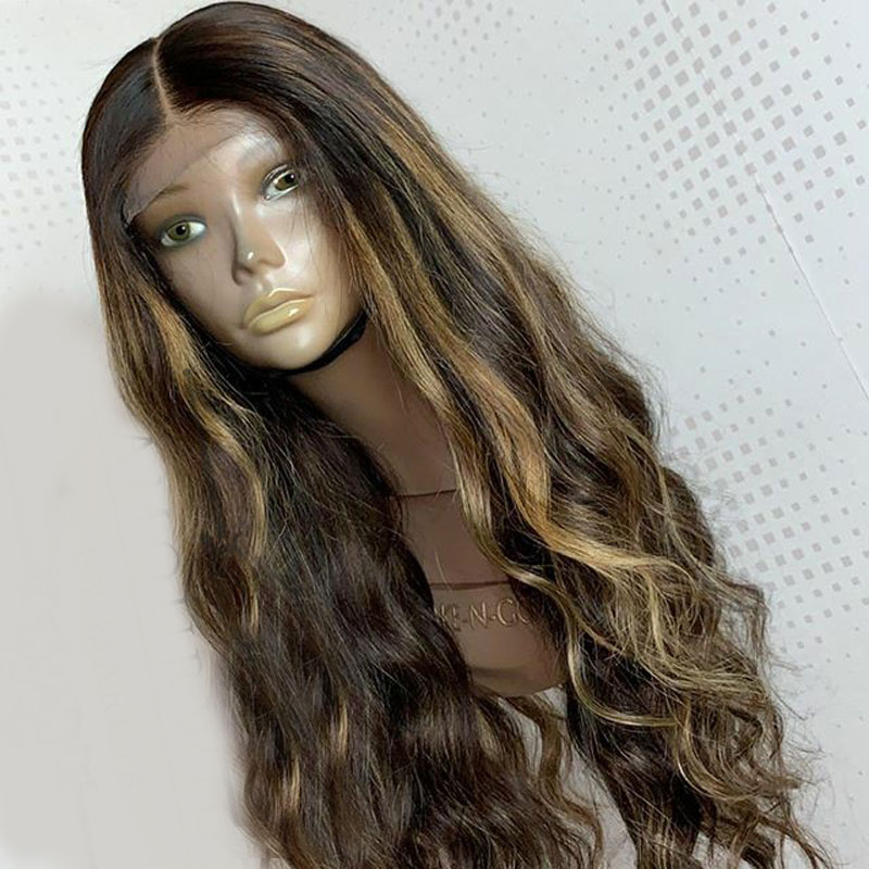 Highlight Peruvian 13X4 Lace Front Fake Scalp Free Part Peruvian Human Hair Wigs With Baby Hair  Ombre Bleached Knots