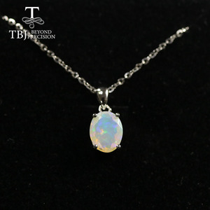 Image 1 - Natural Colorful Tourmaline Pendant necklace ,opal pendant necklace 925 sterling silver fine jewelry for women tbj jewery 2020