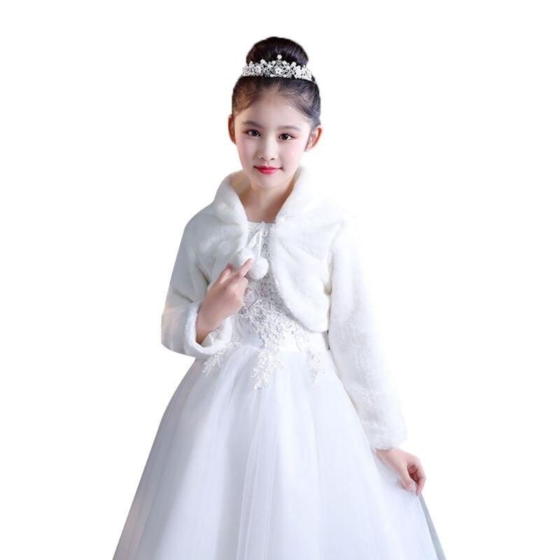 Beige White Elegant Warm Faux Fur Shawl Wedding Flower Girl Wrap Plush Short Coat Fairy Marriage Accessories