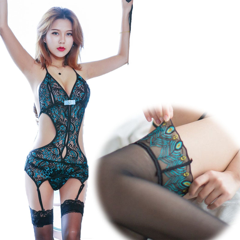 Sexy Teddy Stockings Lace Underwear Peacock Jumpsuits Deep V Halter Erotic Lingerie Backless Buttocks Porn Costumes Basque Sets