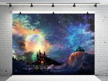 VinylBDS Halloween Backdrops for Photography  Moon Castle Seamless Backgrounds Night Sky Photographic Background Colourful