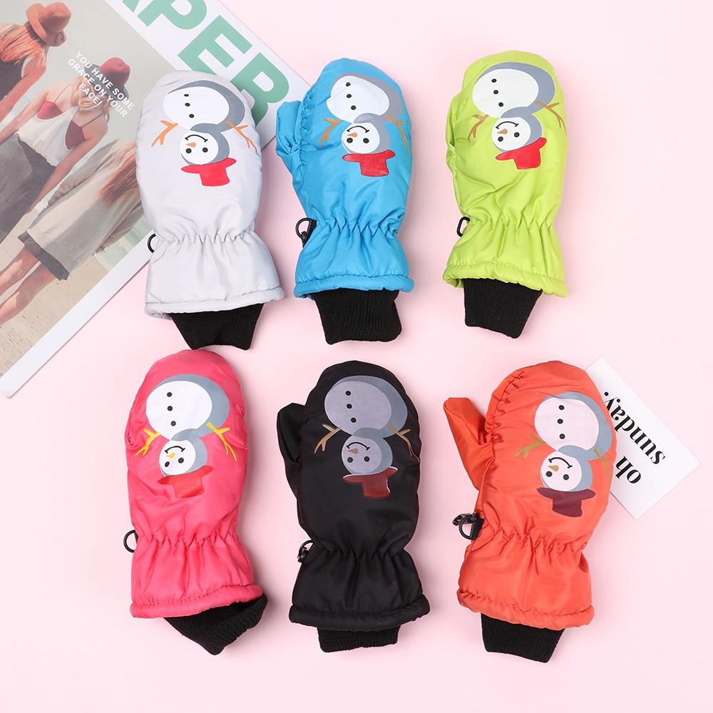 Boys/Girls Winter Waterproof Windproof Gloves Kids Ski Gloves Cartoon Thick Velvet Warm Full Finger Ski Gloves 0-5 Years Old
