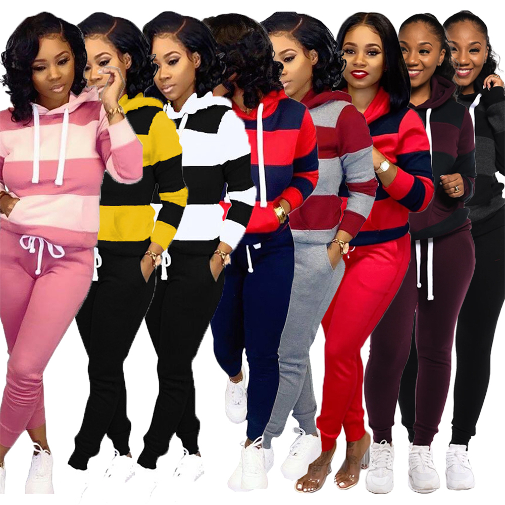 Two Piece Set Women's Tracksuits 2019 Autumn Winter Women Striped Hooded Sweatshirt And Pants Set Sport Suits Pockets Sweatsuits