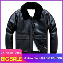 2020 Vintage Black Men USAF A2 Pilot Leather Jacket Plus Size XXXXL Wool Collar Genuine Cowhide Autumn Military Aviator Coat недорого