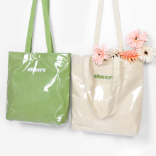 2020 Summer Portable Shopping Bag Large Capacity Transparent PVC Casual Work Tote Handbag Waterproof Outdoor Beach Shoulder Bags