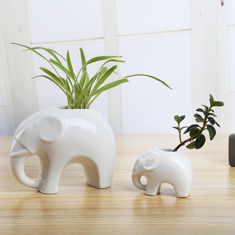Cerámica tamaño elefante decoración creativa florero de cerámica de decoración del hogar regalo Pluma azul atrapasueños adornos decorativos hechos a mano Ventana de pared dormitorio decoración de sala de estar