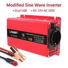 Auto Inverter 1500W Power DC 12V zu AC 110V/220V 230V Dual USB Lade adapter Konverter Solar Omvormer 12 Naar 220 Volt Europa