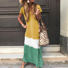 Ladies Dress Beach Summer Boho Color contrast Maxi Sundress Loose Printed Long Women Dresses