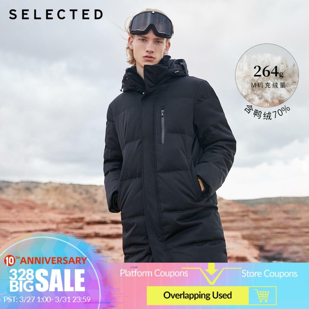 SELECTED Winter Down Jacket New Duck Down Clothes Double-Collar Parka Men's Mid-long Down Garment Warm Coat S   418412526