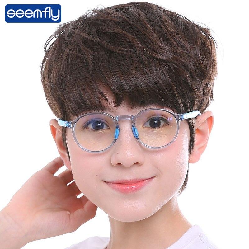 Seemfly Ultralight Anti-blue Light TR90 Soft Silicone Children Glasses Frame Boys&Girls Optical Goggle Comfy Eyeglasses Frame