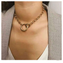 Explosion Style Simple Double Circle Atmospheric Metal Pendant Necklace Alloy Series Fashion Female