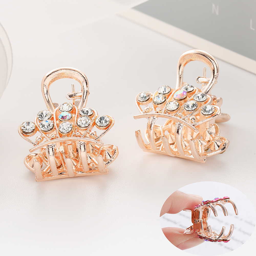 WYBU Six Color Shiny Rhinestone Crown Hair Claws Gift For Women Rose Gold Plated Hairpins Color Hair Clip Girl   Headwear   Jewelry