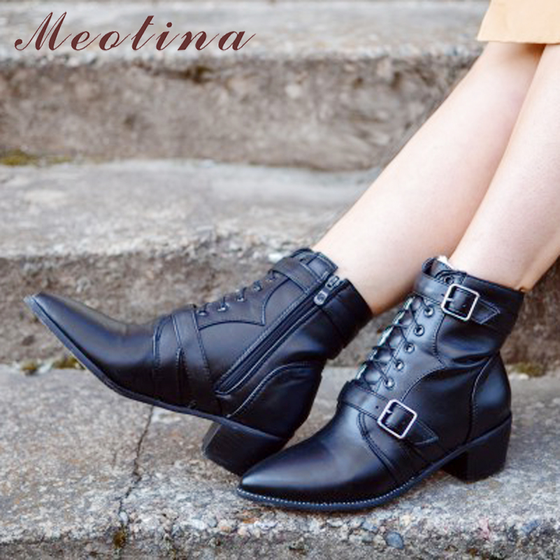 Meotina Boots Winter Shoes Black Women Rivets-Tihck-Heel Buckle Zip Pu Ankle Zip-Fur