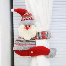 Cartoon Doll Curtain Buckle Window Decor Snowman Santa Elk Screening Clip Christmas New Year Party Decoration