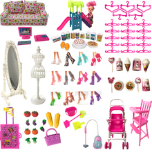 NK Hot Sale Doll Accessories Pretend Play Toy Shoes Bags Hangers Mirrors For Barbie Doll Furniture For Kelly Doll DIY Toys JJ nk one pcs fashion doll head hair diy accessories for barbie kurhn doll best girl gift child diy toys