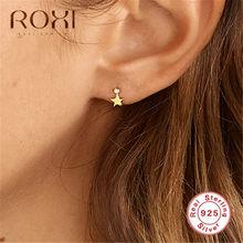 ROXI 925 boucle d'oreille en argent Sterling Simple bijoux de mode éblouissante étoile CZ petites boucles d'oreilles pour femmes boucles d'oreilles en or cadeau coréen