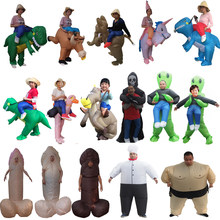 Adult Unicorn Inflatable Dinosaur Costume Willy Alien Sumo Anime Cosplay Halloween Dino Rider Dinosaur Costume For Kid Women Men(China)