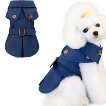 Dog-Coat Pets-Jacket-L Trench Green Winter Blue Autumn with Belt-Decor Plaid Inner-Cloth