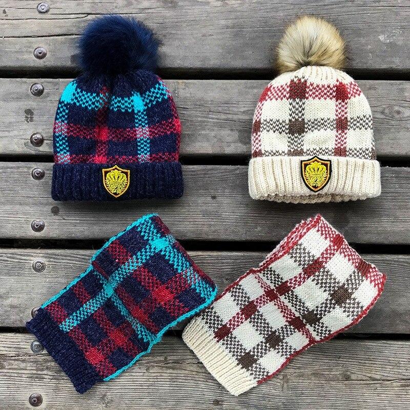 Plaid Wool Thicken Chidren Hat Scarf Set Autumn  Winter  Warm Fleece-Lined Boy Hair Ball Fashion Beanie Set