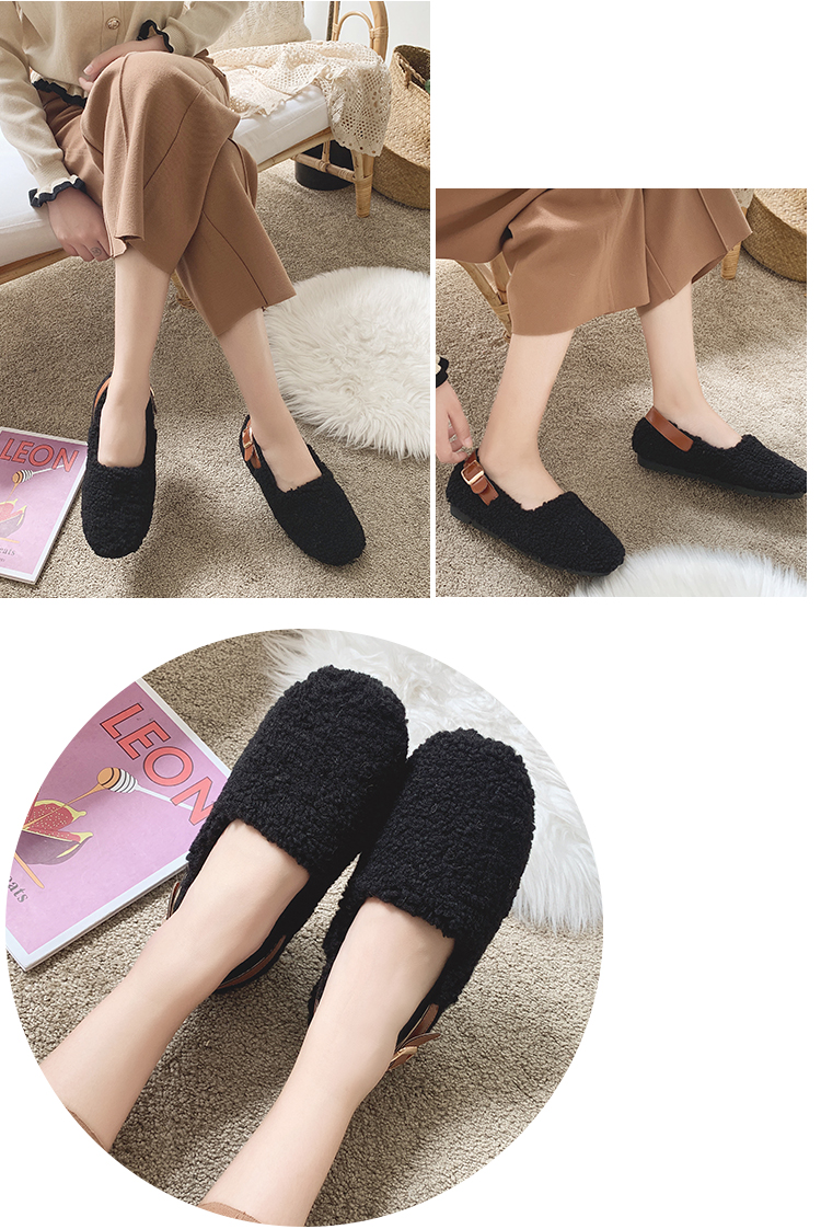SLHJC Round Toe Loafers Flat Heel Slip On Women Autumn Flats Shoes Curly Fur Warm Female Drive Shoes 34