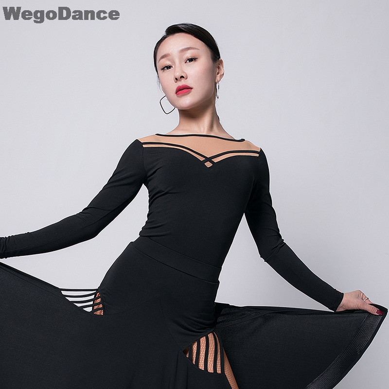 Latin Dance Tops Lady Dancing Shirts Round Neck Hollow Show Female Adults Samba Practice Clothes Long Sleeve Salsa Costume