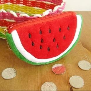 Sevimli peluş kırmızı karpuz bozuk para cüzdanı cüzdan kılıf çanta