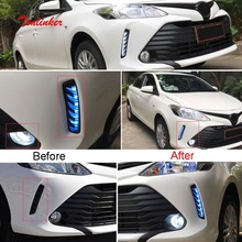 Tonlinker Exterior Car Front Daily/Foglight Cover stickers for Toyota Vios/Yaris 2014-19 Car Styling 2 PCS ABS Angel Eyes Light car body kits abs chrome front grill cover car sticker for toyota vios 2017
