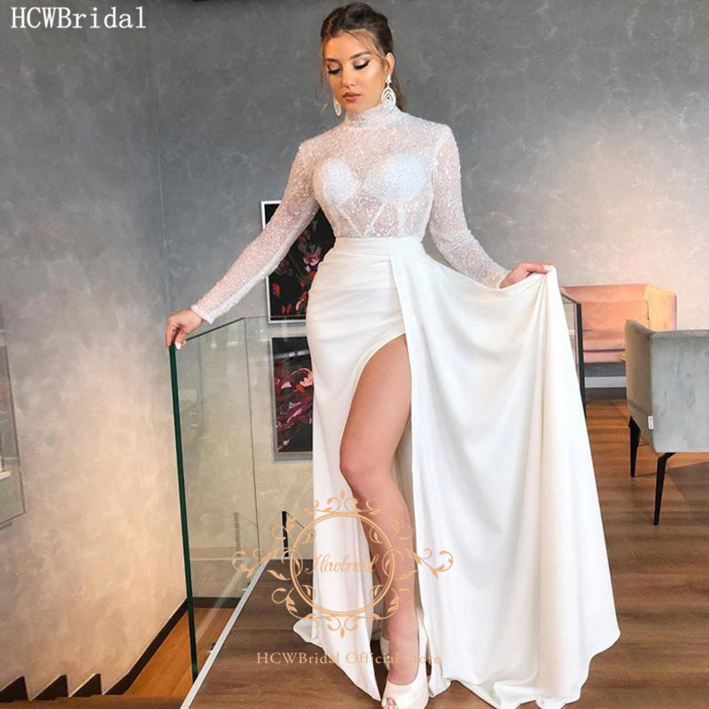 Sexy White Saudi Arabic Prom Dresses Long Sleeves High Slit Glitter Tulle See Through Girls Graduation Dress Plus Size Gowns