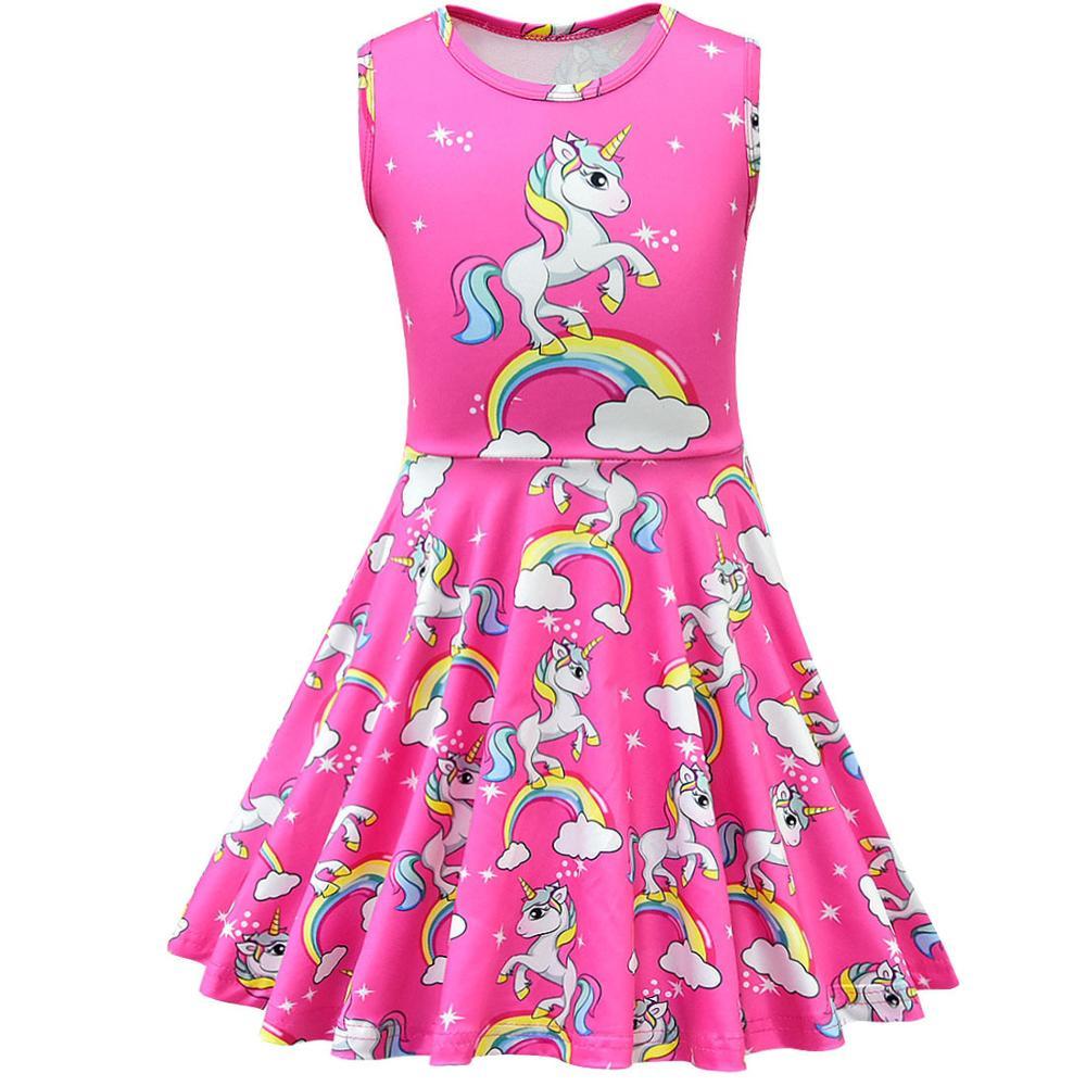 Unicorn Dress Girl Summer Princess Baby Party Frocks For Kids Vestidos Infantil Roupas Infantis Menina Toddler Haloween Costume 2