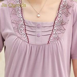 Image 3 - Loungewear 여성 여름 홈 반바지 우아한 레이스 Applique 칼라 플러스 사이즈 여성 잠옷 라벤더 컬러 파자마 반바지 여자
